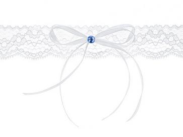 čipkasta podvezica s trakom, bela, 3,5 cm, 1 kos