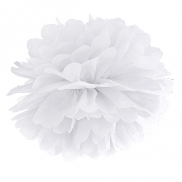 pompom krogla, bela, 35 cm, 1 kos