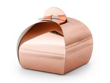 darilna embalaža, 6x6x5,5 cm, roza zlato, 1 kos