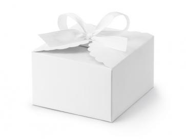 darilna embalaža, 8x7,5x4,5cm, bela, 1 kos