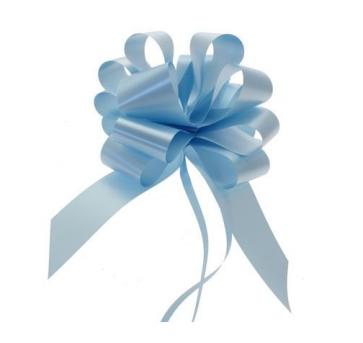 mašne na poteg, 15x18 cm, baby modra b., 1 kos