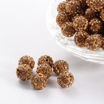 fimo perle s kristali Light Colorado Topaz, 10 mm, velikost luknje: 1.5 mm, 1 kos