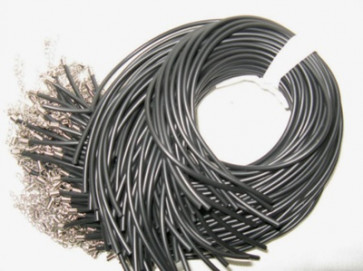 osnova za ogrlico - gumi (kavčuk), 43 cm, črne b., debelina: 3 mm, 1 kos