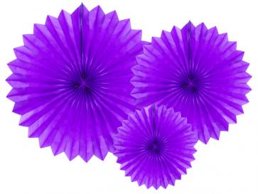dekorativne rozete, vijolična, 20-40 cm, 1 komplet (3 kosi)