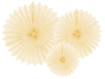 dekorativne rozete, krem, 20-40 cm, 1 komplet (3 kosi)