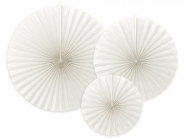 dekorativne rozete, bela, 23-40 cm, 1 komplet (3 kosi)