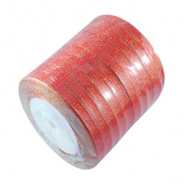 satenast trak, Red - bleščeč, širina: 6 mm, dolžina: 22 m