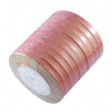 satenast trak, Hot Pink - bleščeč, širina: 6 mm, dolžina: 22 m