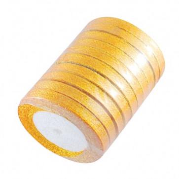 satenast trak, Gold - bleščeč, širina: 6 mm, dolžina: 22 m