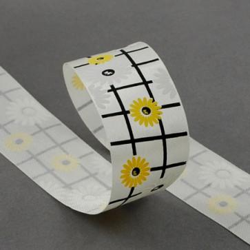 satenasti trak 40 mm, beli z rožami, 1 m