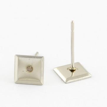 osnova za uhane 6x6x1 mm, štirikotnik, nerjaveče jeklo, velikost kapljice: 6x6 mm, 1 kos