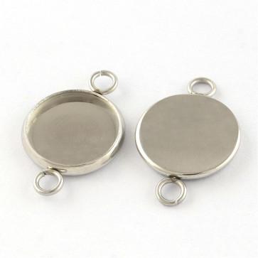 osnova za obesek - medaljon 19x12x2mm, nerjaveče jeklo, velikost kapljice: 10 mm, 1 kos