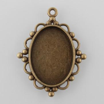 osnova za obesek - medaljon 39x30x2mm, antik, brez niklja, velikost kapljice: 25x18 mm, 1 kos