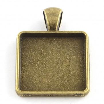 osnova za obesek - medaljon 37x28x3 mm, antik, velikost kapljice: 25x25 mm, 1 kos