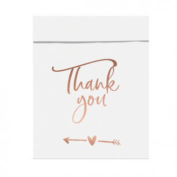 "papirnata vrečka, 13x16.5 cm, bele b. z napisom ,""Thank you"", 1 kos"