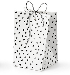 darilna embalaža, 7x12x7 cm, bela s črnim odtisom, 1 kos