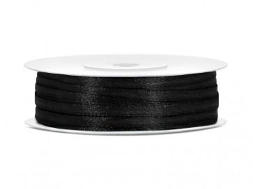 satenast trak, črn, širina: 3 mm, dolžina: 50 m, 1 kos