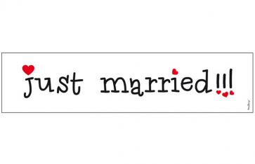 "avto tablica ""just married!!!"", karton, 50x11,5 cm, 1 kos"