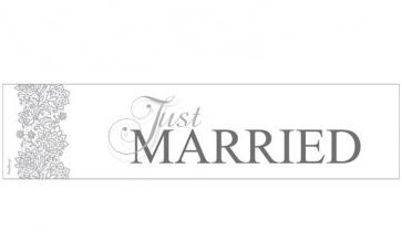 "avto tablica ""Just MARRIED"", karton, 50x11.5 cm, 1 kos"