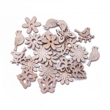 leseni perle in obeski - rožice, ptički, metulji, 20~28x23~34x2~2.5 mm, naravne b., 10 kos