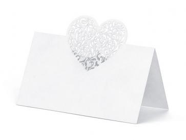 kartica za sedežni red, belo srce, 9x6,5 cm, 1 kos