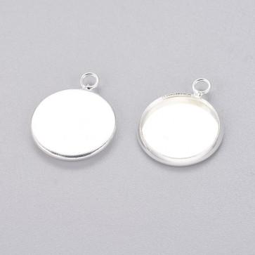 osnova za obesek - medaljon, 17x14x2 mm, b. srebra, velikost kapljice: 12 mm, 1 kos