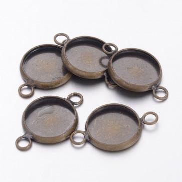 osnova za obesek - medaljon  22x14x2 mm, antik, brez niklja, velikost kapljice: 12 mm, 1 kos