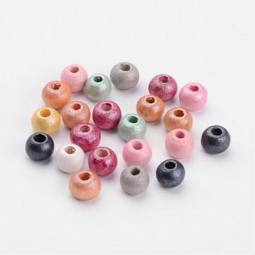 lesene perle okrogle 5~6x6~7mm, mix, velikost luknje 2 mm, 100 kos