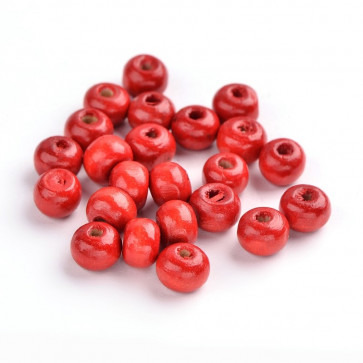 lesene perle okrogle 7x6 mm, rdeče, velikost luknje: 3 mm, 200 kos