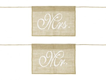 "napis za stol ""Mr"" in ""Mrs"", juta, 30x21,5 cm, 1 komplet (2 kosa)"