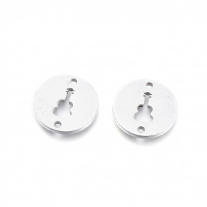 obesek/vmesnik za nakit, ploščat krog z kitaro, 11.5x1 mm, luknja: 1.2 mm, nerjaveče jeklo, 1 kos
