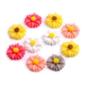 roža - umetna masa, 14 mm, siva, 1 kos
