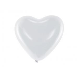 balon, srce, bela b., 25 cm, 1 kos
