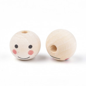 lesene perle z obrazom 19~20 mm, velikost luknje: 4.5 mm, 1 kos