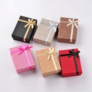 škatla za nakit iz kartona, 6,7x9,3x3,1 cm, siva b., 1 kos