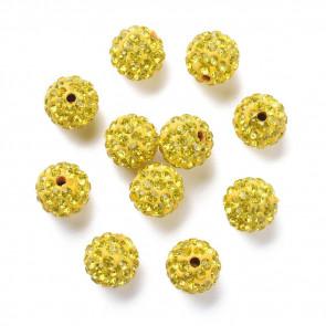 fimo perle s kristali rumene b., 10 mm, velikost luknje: 1.5 mm, 1 kos