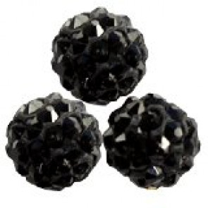 shamballa perle okrogle 8 mm, črne, 1 kos