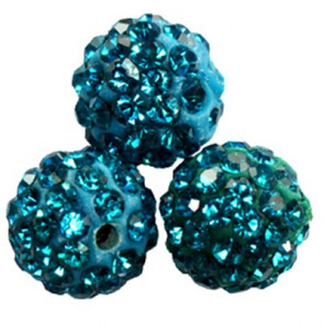 shamballa perle okrogle 10 mm, modre, 1 kos