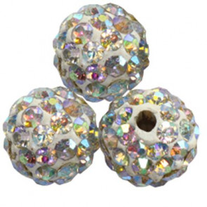 shamballa perle okrogle 8 mm, AB, 1 kos