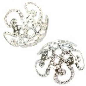 dekorativna kapa 9,8 mm, srebrne b., 10 kos