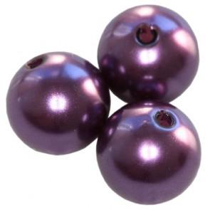 plastične perle okrogle, 10 mm, plum, 50 gr