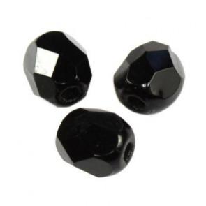 steklene perle - češko steklo 4 mm, črne, 10 kos