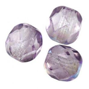 perle - češko steklo 6 mm, vijola ab, 10 kos