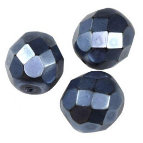 perle - češko steklo 8 mm, dark denim blue, 10 kos