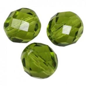 perle - češko steklo 8 mm, olivine, 10 kos
