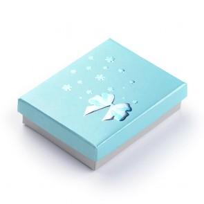 """darilna embalaža za nakit z vzorcem """"pentlje in rož"""", 9,5x7x2,5 cm, sv. modra b., 1 kos"""