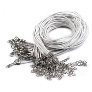 bombažna osnova za ogrlico 45 cm, bela, 1 kos