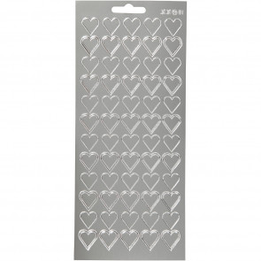 nalepke, 10x23 cm, samolepilne, srebrni srčki, 1 pola (cca 60 kos)