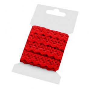bombažni trak - videz čipke, 15 mm, rdeča b., 3 m