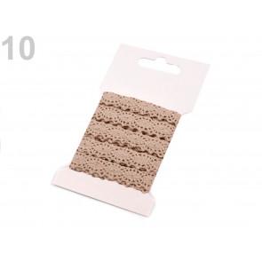 bombažni trak - videz čipke, 12 mm, rjavo beige, 3 m